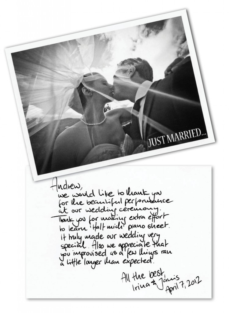 Client Thank-you card for Ceremony pianist