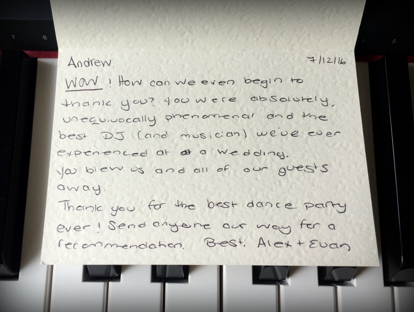 Westphal Music - DJ, Pianist Thank You Card